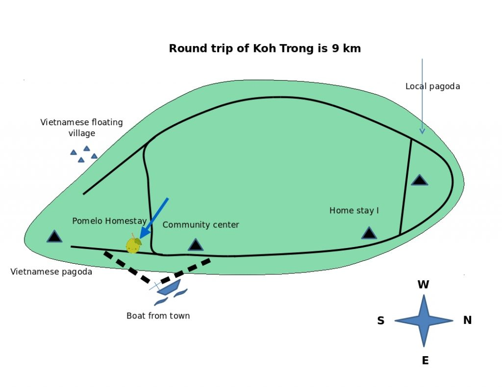 map and directions of koh trong island